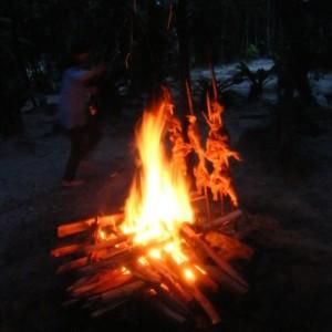 エンジェルフォールベースキャンプの夕食